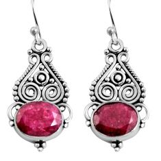 8.44cts natural red ruby 925 sterling silver dangle earrings jewelry r11110