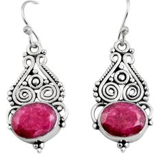925 sterling silver 8.26cts natural red ruby dangle earrings jewelry r11111