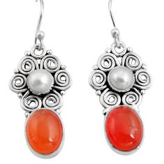 8.77cts natural orange cornelian (carnelian) 925 silver dangle earrings r11116