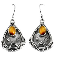 925 sterling silver 3.19cts natural brown tiger's eye dangle earrings r11123