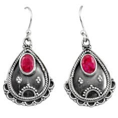 3.19cts natural red ruby 925 sterling silver dangle earrings jewelry r11124