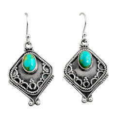 925 sterling silver 3.14cts blue arizona mohave turquoise dangle earrings r11128