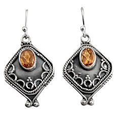 3.00cts brown smoky topaz 925 sterling silver dangle earrings jewelry r11130