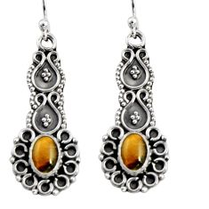 3.22cts natural brown tiger's eye 925 sterling silver dangle earrings r11133