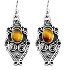 3.11cts natural brown tiger's eye 925 sterling silver dangle earrings r11139