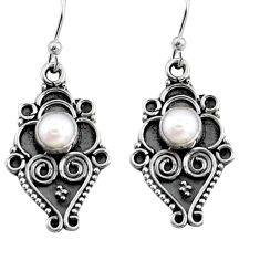 1.91cts natural white pearl 925 sterling silver dangle earrings jewelry r11140