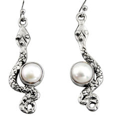 4.47cts natural white pearl 925 sterling silver snake earrings jewelry r11141