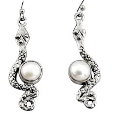 4.70cts natural white pearl 925 sterling silver snake earrings jewelry r11142