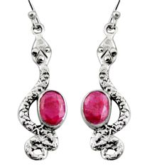 4.46cts natural red ruby 925 sterling silver snake earrings jewelry r11143