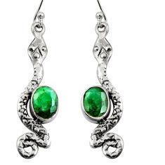 4.42cts natural green emerald 925 sterling silver snake earrings jewelry r11145