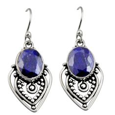 925 sterling silver 8.45cts natural blue sapphire snake earrings jewelry r11148