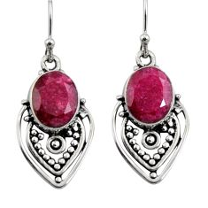 6.82cts natural red ruby 925 sterling silver snake earrings jewelry r11149