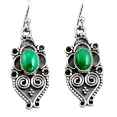 3.10cts natural green malachite (pilot's stone) 925 silver snake earrings r11150