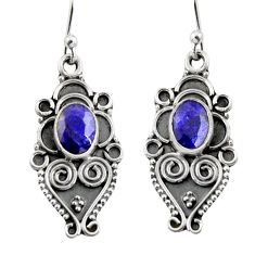 3.26cts natural blue sapphire 925 sterling silver snake earrings jewelry r11151