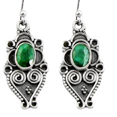 925 sterling silver 3.50cts natural green emerald snake earrings jewelry r11152