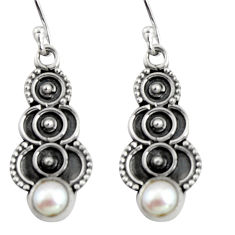 2.02cts natural white pearl 925 sterling silver snake earrings jewelry r11153