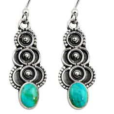 2.98cts green arizona mohave turquoise 925 sterling silver snake earrings r11154