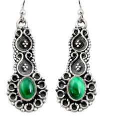 3.01cts natural green malachite (pilot's stone) 925 silver snake earrings r11155