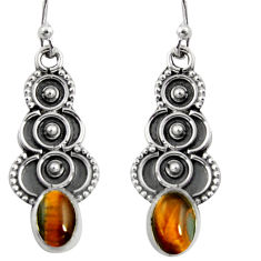 3.29cts natural brown tiger's eye 925 sterling silver snake earrings r11157