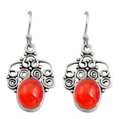 8.80cts natural orange cornelian (carnelian) 925 silver snake earrings r11158