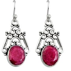 8.05cts natural red ruby 925 sterling silver snake earrings jewelry r11160