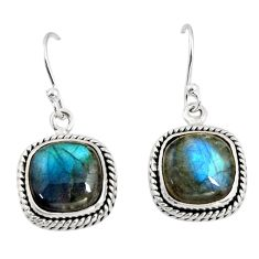 11.57cts natural blue labradorite 925 sterling silver dangle earrings r11165