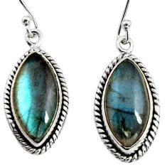 13.15cts natural blue labradorite 925 sterling silver dangle earrings r11172