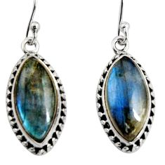 12.62cts natural blue labradorite 925 sterling silver dangle earrings r11173