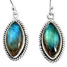 13.18cts natural blue labradorite 925 sterling silver dangle earrings r11175