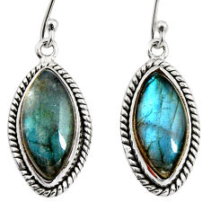 13.49cts natural blue labradorite 925 sterling silver dangle earrings r11176