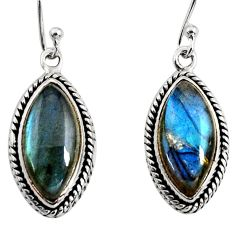 925 sterling silver 13.94cts natural blue labradorite dangle earrings r11178