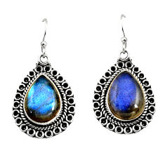 12.40cts natural blue labradorite 925 sterling silver dangle earrings r11185