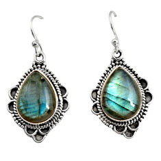 11.66cts natural blue labradorite 925 sterling silver dangle earrings r11186