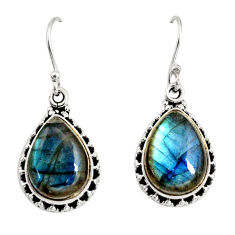 925 sterling silver 11.46cts natural blue labradorite dangle earrings r11188