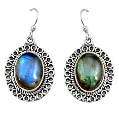 13.07cts natural blue labradorite 925 sterling silver dangle earrings r11189
