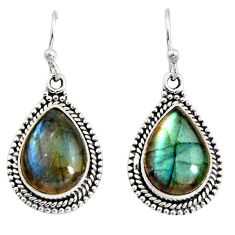 11.66cts natural blue labradorite 925 sterling silver dangle earrings r11190