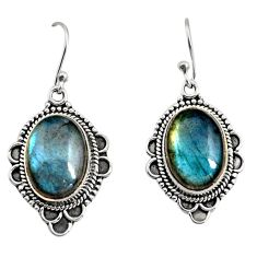 12.00cts natural blue labradorite 925 sterling silver dangle earrings r11195