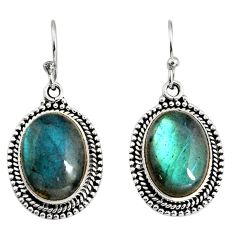925 sterling silver 12.40cts natural blue labradorite dangle earrings r11196