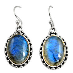 11.27cts natural blue labradorite 925 sterling silver dangle earrings r11197