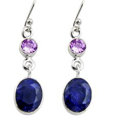 8.71cts natural blue sapphire purple amethyst 925 silver dangle earrings r11210
