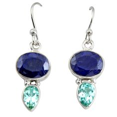 9.61cts natural blue sapphire topaz 925 sterling silver dangle earrings r11213