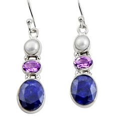10.78cts natural blue sapphire amethyst 925 silver dangle earrings r11216