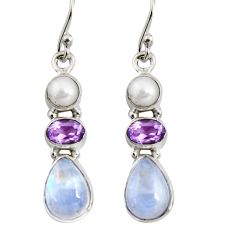8.91cts natural rainbow moonstone amethyst 925 silver dangle earrings r11218