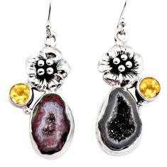 11.56cts natural brown geode druzy citrine 925 silver flower earrings r12001