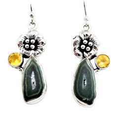 11.87cts natural brown geode druzy citrine 925 silver flower earrings r12002
