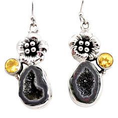 11.24cts natural brown geode druzy citrine 925 silver flower earrings r12004