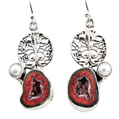 11.87cts natural brown geode druzy pearl 925 silver tree of life earrings r12005
