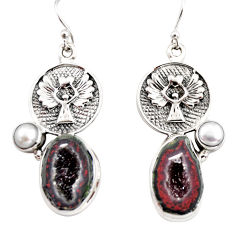 14.04cts natural brown geode druzy pearl 925 silver eagle charm earrings r12007