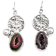 925 silver 12.45cts natural brown geode druzy pearl tree of life earrings r12008