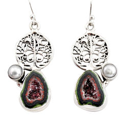 11.00cts natural brown geode druzy pearl 925 silver tree of life earrings r12009
